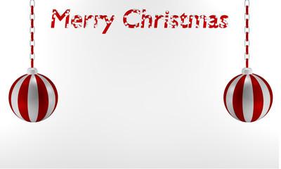 rot-weiß gestreifte Kugeln die an einer Kette hängen, mit dem Text Frohe Weihnachten