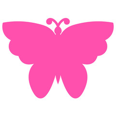 Pink butterfly isolated on white background. Vector illustration.