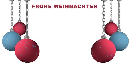 """Christbaumkugeln in hellblau und rosa an einer Kette hängend mit deutschem Text """"Frohe Weihnachten"""""""
