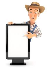 3d farmer pointing to blank billboard