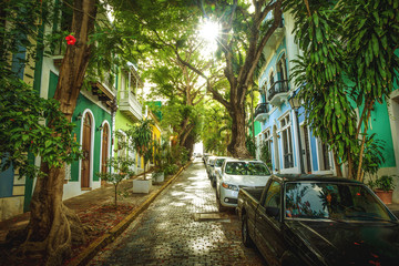 Beautiful street full of trees in old San Juan, Puerto Rico