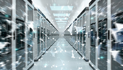 Server room center exchanging cyber datas 3D rendering
