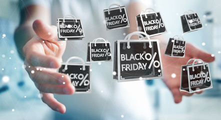 Businessman enjoying black Friday sales 3D rendering