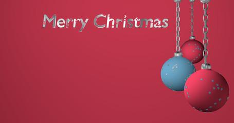 Christbaumkugeln in hellblau und rosa an einer Kette hängend mit Text Frohe Weihnachten auf rosa Hintergrund