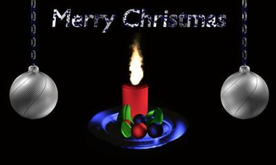 Christbaumkugeln in silber mit brennender Kerze und Text frohe Weihnachten.