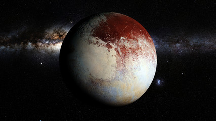 dwarf planet Pluto lit by the stars of the Milky Way galaxy