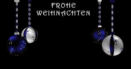 Christbaumkugeln in silber und blau mit Text Frohe Weihnachten in deutsch.