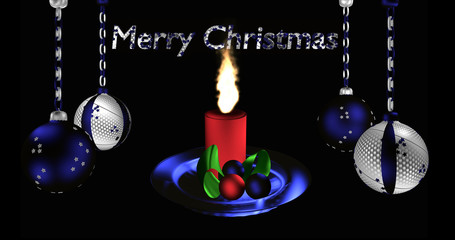 Christbaumkugeln in silber und blau mit Text Frohe Weihnachten und brenndender Kerze.
