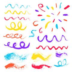 Brush Strokes Confetti Design Elements