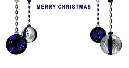 Christbaumkugeln in silber  und blau mit brennender Kerze und Text frohe Weihnachten.