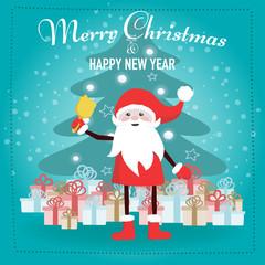 Santa Claus cartoon character with gift boxes
