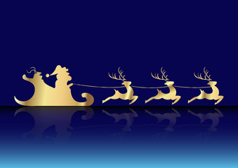 santa claus of gold with a reindeer flying vector isolated or blue background , Merry Christmas