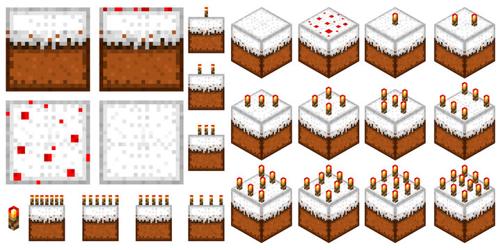 set the cakes in the style of minecraft (2D and 3D with a different number of candles)
