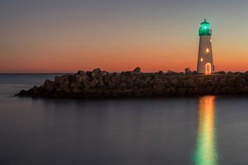 Breakwater (Walton) Lighthouse Reflections. Santa Cruz, California, USA.