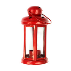 Red Christmas lantern close-up on a white background with copy space isolated, holiday concept new year,flat lay