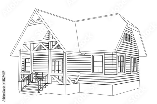 3d suburban wood house model drawing of the modern building 3d suburban wood house model drawing of the modern building cottage project on white malvernweather Images