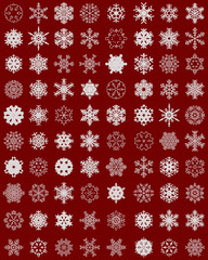 Set of different snowflakes on colored background