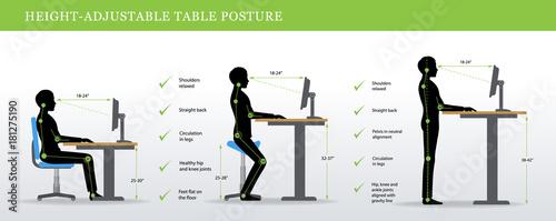 Height Adjustable And Standing Desks Correct Poses Ergonomics