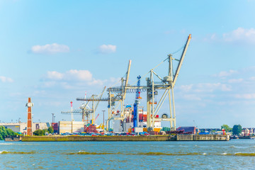 View of cranes in the port of hamburg, Germany.