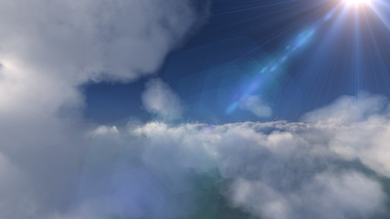 above in clouds day sun ray