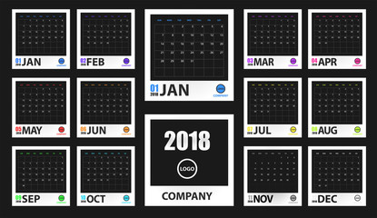 2018 colored calendar mockup in realistic photo frame isolated. Event planner. All size. Vector illustration