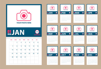 2018 photo calendar isolated. Blue and pink. Event planner. All size. Vector illustration