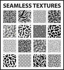Black and white seamless textures pack. Vector illustration