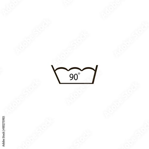 90 Degrees Washing Laundry Symbol Line Icon Flat Design Stock