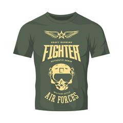 Vintage fighter pilot helmet vector logo isolated on khaki t-shirt mock up.