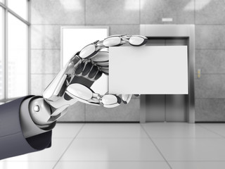 Robotics hand hold blank business card in a office space. Futuristic technology with AI. 3d illustration.