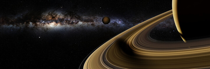 Saturn's moon Enceladus casts a long shadow on planet Saturn's rings  Fototapete