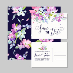 Save the Date Wedding Invitation Template with Spring Dogwood Flowers. Romantic Floral Greeting Card for Celebration. Watercolor Botanical Design. Vector illustration