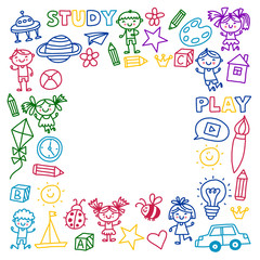 Time to adventure Imagination Creativity Small children play Nursery Kindergarten Preschool School Kids drawing doodle icons Pattern Play, study learn with happy boys and girls Let's explore space