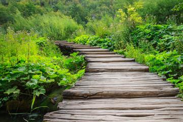 Wooden bridge footpath in Plitvice National Park in Croatia