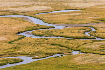 An aerial view of meandering stream. Plateau Ukok. Altai