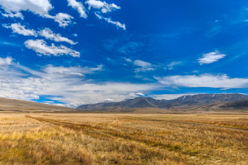Beautiful landscape with mountains and blue sky