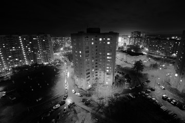 dormitory area, black and white photo architecture, the usual panel house, the block of flats, aerial shot from drone