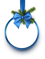 Round Christmas background with blue bow.