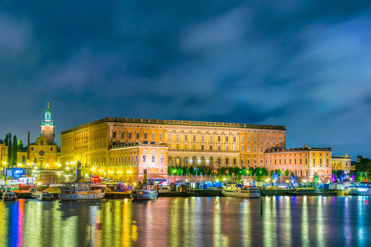 Night view of Gamla Stan and The Royal Palace in Stockholm, Sweden.