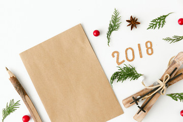 Creative Christmas Composition. Flat lay. Wish list or Goals concept with 2018