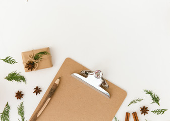 Christmas minimal flat lay composition with copy space