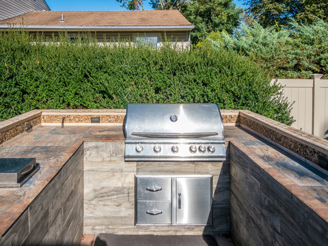 Grill at private backyard