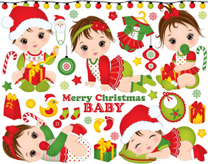 Vector Christmas and New Year Set with Cute Little Baby Girls and Festive Accessories and Toys