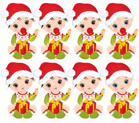 Vector Cute Little Baby Girls Wearing Christmas Clothes