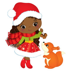 Vector Cute Little African American Girl with Squirrel