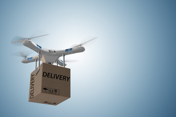 Drone delivery concept with box in air - 3d rendering Wall mural