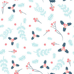 Simple and stylish vector seamless pattern with pine branches and holly in pink and blue colors for Christmas and winter designs and fabric