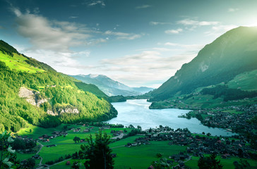 Aerial view on Lungernsee lake, Switzerland, Europe