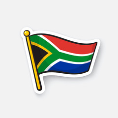 Vector illustration. Flag of South Africa. Countries in Africa. Location symbol for travelers. Isolated on white background. Cartoon sticker with contour. Decoration for greeting cards, patches