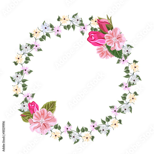 Vintage floral wreath with simple wildflowers and roses